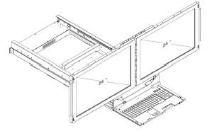 Double Clavier Ecran 24 pouces HD double Rail Symetrique